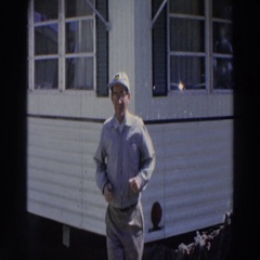 1966: a man that is dancing outside a mobile home PUERTO RICO Stock Footage