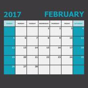 February 2017 calendar week starts on Sunday Stock Illustration