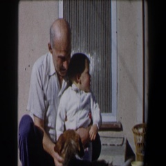 1958: grandfather with grandson CALIFORNIA Stock Footage