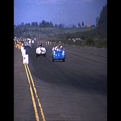 Vintage 16mm film, 1965 SCCA roadcourse celebration lap winner Stock Footage