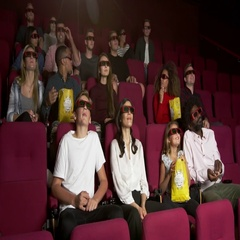 Audience In Cinema Watching 3D Film Shot On R3D Stock Footage