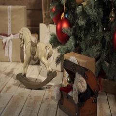Toy horse under xmas tree Stock Footage