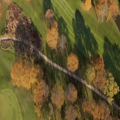 Aerial View of Golf Course in Fall Scenery Stock Footage