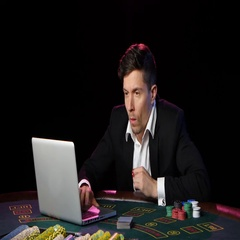 Online poker players and wins. Close up Stock Footage