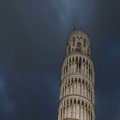 Dramatic timelapse of clouds casting dynamic lights on Pisa leaning tower Stock Footage