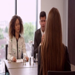 Female Job Candidate Being Interviewed In Office Shot On R3D Stock Footage