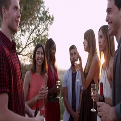 Adult friends socialising at a party on a rooftop at sunset, shot on R3D Stock Footage