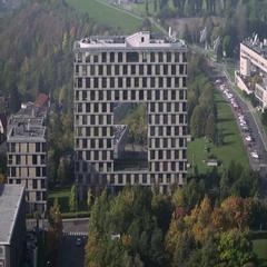 Set of two buildings in  Prague 4 Stock Footage
