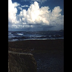 Vintage 16mm film, 1959, Puerto Rico beach to hotel pan Arkistovideo