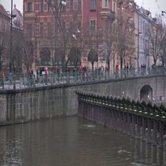 Quay of the river in Prague. Stock Footage
