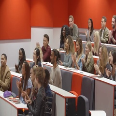 University students applauding at the end of a lecture Stock Footage