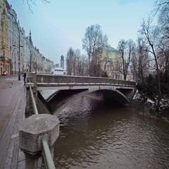 The bridge across the river. Stock Footage