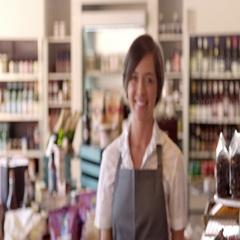 Portrait Of Female Employee In Delicatessen Shot On R3D Stock Footage