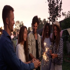 Group Of Friends With Sparklers Enjoying Outdoor Party Arkistovideo
