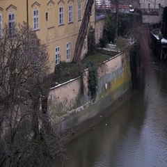 View from the top of the Charles Bridge. Stock Footage