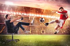 Realistic soccer video game Stock Photos