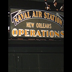 Vintage 16mm film, 1952, Naval Air Station New Orleans sign Stock Footage