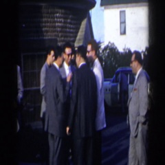 1963: a group of people standing outside around cars NIAGARA FALLS Stock Footage