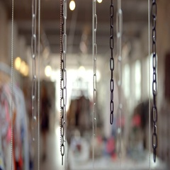 Plastic Chains Hanging In University Fashion Department Stock Footage
