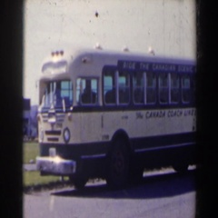1963: a canada coach lines bus parked by the side of the road NIAGARA FALLS Stock Footage