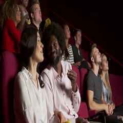 Audience In Cinema Watching Film Shot On R3D Stock Footage