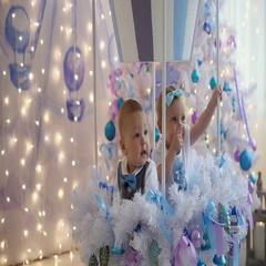 Little girl and boy fun christmas tree Stock Footage