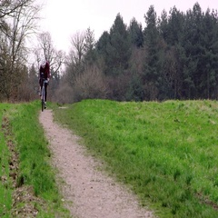 Cross-country cyclist riding down a path in open countryside, shot on R3D Stock Footage