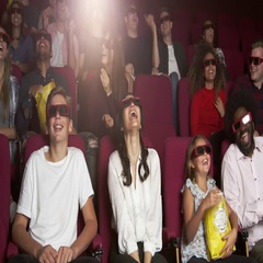 Audience In Cinema Watching 3D Comedy Film Shot On R3D Stock Footage