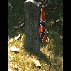 Vintage 16mm film, 1957 confederate flag cemetery architecture b-roll Stock Footage