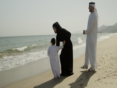 Arab family at the beach. Stock Footage