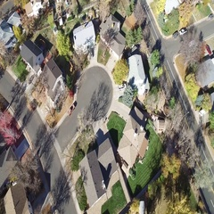 Aerial view of a neighborhood in the suburbs. COLORADO Stock Footage