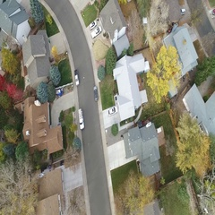 Airplane view of a community of homes. COLORADO Stock Footage