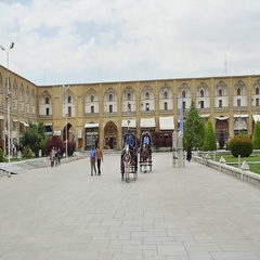 Isfahan Imam Square carriages rides Stock Footage