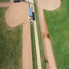 Aerial view of a well maintained sports area including sections of where to sit Stock Footage