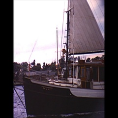 Vintage 16mm film, 1962 Americas Cup, flotilla in harbour Stock Footage
