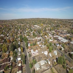Aerial view of a domesticated area with many buildings and roads COLORADO Stock Footage