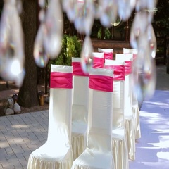 Rows of chairs for guests on the wedding ceremony. Wedding decor. Stock Footage