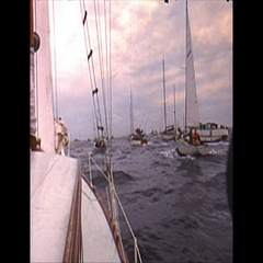 Vintage 16mm film, 1962 Americas Cup, sailboat POV Stock Footage