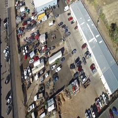 Bird's eye view of a crowded parking lot in an industrial business park COLORADO Stock Footage