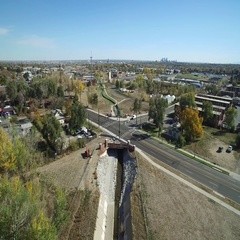 Birds eye view of a highway with road extending off COLORADO Stock Footage
