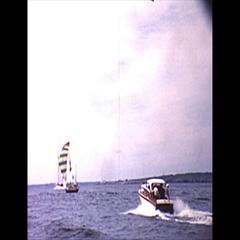 Vintage 16mm film, 1962 Americas Cup, flotilla b-roll #1 Stock Footage