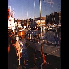 Vintage 16mm film, 1962 Americas Cup, yacht Gretel spectators Stock Footage