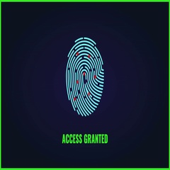 Fingerprint scanning video. Finger print access granted animation Stock Footage