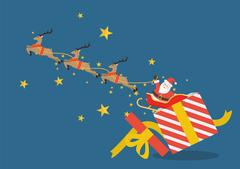 Santa claus with reindeer sleigh flying out of the gift box Piirros