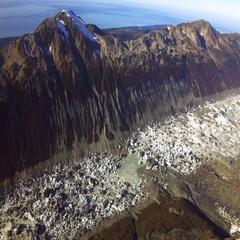 Desolation Valley Iceberg Lake in Glacier Bay Collision Aerial HD Stock Footage