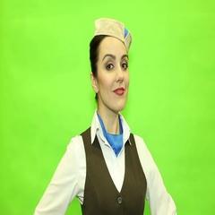 Cute Stewardess on a green background Stock Footage