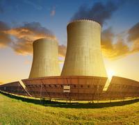 Solar energy panels and nuclear power plant Kuvituskuvat