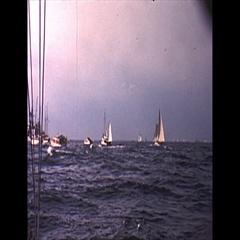 Vintage 16mm film, 1962 Americas Cup, flotilla b-roll #2 Stock Footage