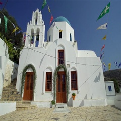 Church with a white facade in Greece Stock Footage