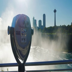 A coin operated binocular viewer located in Niagara Falls with a view to the Stock Footage